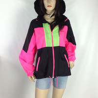 80s Reebok Nylon Jacket Fresh Prince Hoodie Pink Neon Wind Breaker Unisex Athletic Track Jacket Oversized Mesh Vented Back Large XL