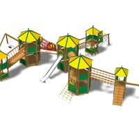 Pine Play structure CASTELLO YIMALAYA MAXI INOX Young Collection by Legnolandia