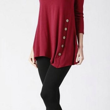 Asymmetrical Tunic Top - Burgundy