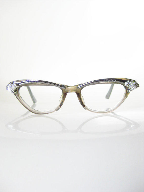 Glasses Frames With Bling : Vintage 1950s Century Cat Eye Glasses from OliverandAlexa ...