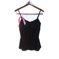 Medium Black Satin Bow Non Adjustable Nighty Camisole