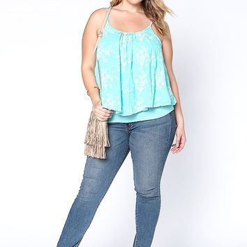 PLUS SIZE LAYERED FLORAL EMBROIDERED TANK TOP