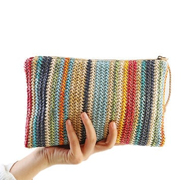 2017 Women Straw Handbags Sale Color Stripe Day Clutches Summer Bag Small Ladie Bags Wristlets Lady Casual Envelope Purse