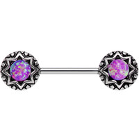Pink Synthetic Opal Lotus Flower Nipple Barbell 14 Gauge 5/8"