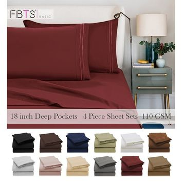 1800 Series Egyptian Quality Double Brushed Microfiber Bedding Set (1 Flat Sheet, 1 Fitted Sheet, 2 Pillowcases)