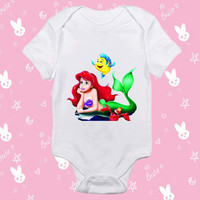 Ariel Litle Mermaid baby shirt Onesuit - Ariel Litle Mermaid baby shirt - baby Onesuit - baby clothes - baby clothing - gift Onesuit