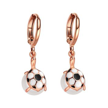 Beautiful Unique Lucky Turtles Simulated Pearl Charms Soccer Ball Accents Magical Amulets Earrings