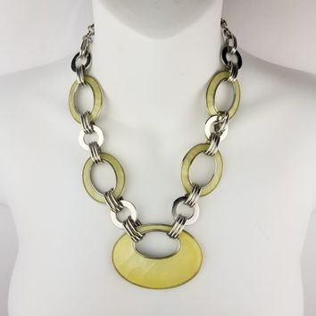 "Lia Sophia Silver Tone Yellow Enamel Necklace 20-23"" Ovals and Circles"