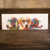 Oil Painting- Colorful Dogs with Glasses