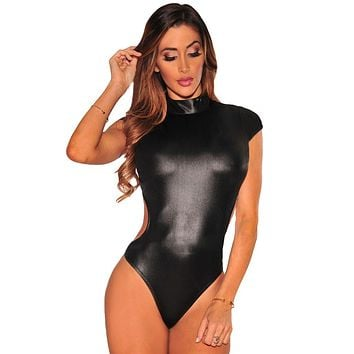 Chicloth Black Sexy Cutout Mock Neck Bodysuit