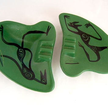 Vintage Mid Century Green & Black Amorphic Aboriginal / Tribal Ashtray Set