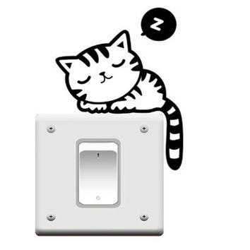 1Pc Black Cute Cat Removable Art Vinyl Switch Sticker Home Wall Window Decor Hot (Size: 13cm by 7cm, Color: Black)