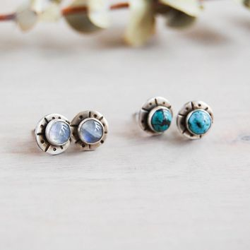 Stone and Silver Stud Earrings