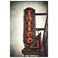 Tattoo Shop. Urban Photography. San Francisco. City. Gritty. Gray and Red. Street photography. Home Decor