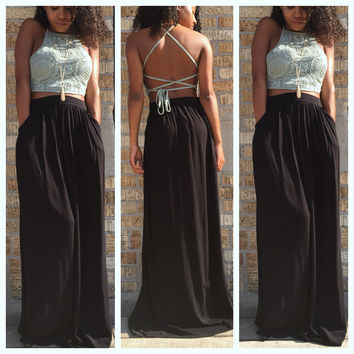 A Goddess Maxi Skirt in Black
