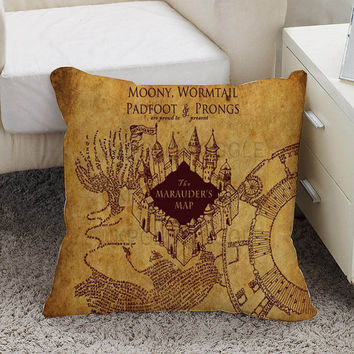 harry Potter Marauder's Map Pillow case size 16 x 16, 18 x 18, 16 x 24, 20 x 30, 20 x 26 One side and Two side