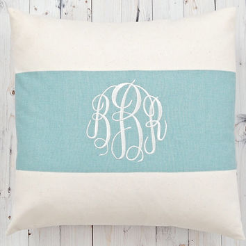 Monogram Pillow Cover Letter Pillow Solid Village Blue Pillow Embroidered Initial Monogram Personalized Gift  Baby Gift Wedding Gift