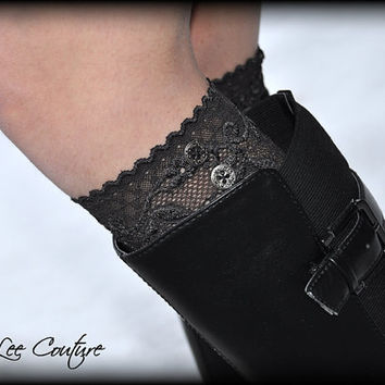 Lace Boot Cuffs - Faux Lace Boot Socks - Faux Lace Leg Warmers - Lace Boot Topper - Boot Topper - Faux Knee High Sock - Womens