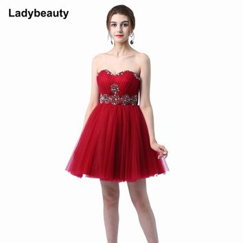 Ladybeauty 2018  Sisters Dress Short Evening Dress Tube Top Short design Lace Up Party Dress Prom Dress free shipping