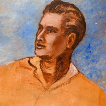 Portrait of Man In Yellow Shirt Painting