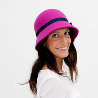 Balmoral - Fuchsia Cloche Hat with detail of dark blue ribbon