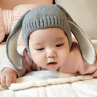 Autumn Winter Toddler Infant Knitted Baby Hat Adorable Rabbit Long Ear Hat Baby Bunny Beanie Cap Photo Props