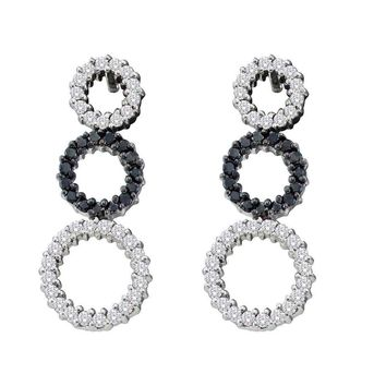 14kt White Gold Womens Round Black Color Enhanced Diamond Triple Circle Earrings 3/4 Cttw