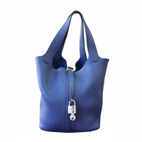 Hermes Picotin MM Bleu de Malte Leather Handbag