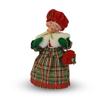 Annalee Dolls 9in 2018 Christmas Mrs. Santa Plaid Tidings Plush New with Tags