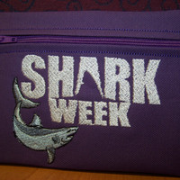 SHARK WEEK  Tampon & Maxi Pad Taxi Purple Zippered Fabric Purse Pouch / Tampon Keeper