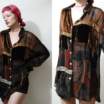 90s Vintage SHIRT Patchwork VELVET Sheer Floral Metallic Brown Autumn Button-down Oversized Grunge Bohemian 1990s vtg
