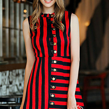 Red Black Striped Sleeveless Buttoned A-Line Mini Dress