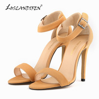 LOSLANDIFEN Womne's Sandals Nude Black Sexy Faux Suede High Heels Shoes Open Toe Ankle Strap Summer Party Sandals 102-3SUEDE