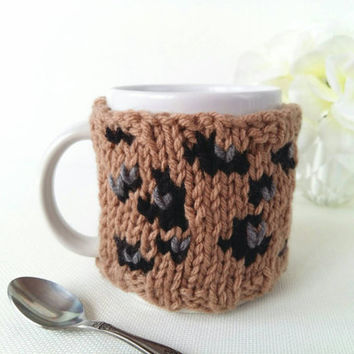 Leopard Print Coffee Cozy – Coffee Mug Cozy – Leopard Print Gifts for Her – Coffee Cup Warmer – Animal Print – Knit Coffee Cozy – Drink Cozy