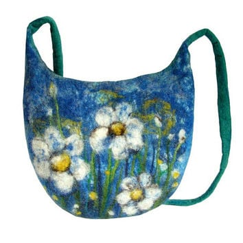 Felted bag floral felt handbag wool  flower flowers petrol blue petrol green white blue boho OOAK