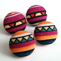 2 for 9.50 tribal earring set. Colorful tribal stripes and Purple tribal design fabric button earrings