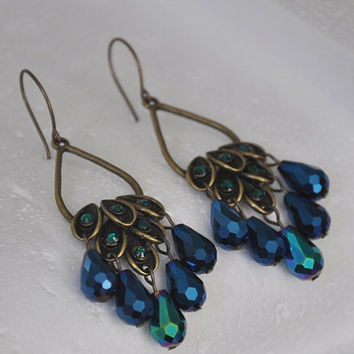 Peacock Earrings, Swarovski Crystal Earrings, Chandelier Earrings, Blue and Green, Dangle Earrings, Emerald Green, Brass Earrings