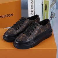TOP Quality 2020 office Louis Vuitton LV Womens Time Out Damier Stellar call back Velcro Frontrow 5D   Run Away Casual Sneaker sport running shoes white brown