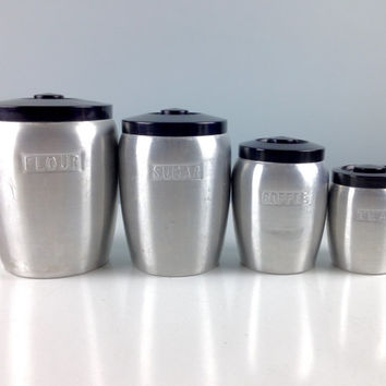 Vintage Kitchen Canisters Set / Aluminum 1940s 1950s Kitchen Decor / Art Deco / Farmhouse Decor / Aluminum Flour and Sugar Canisters Coffee