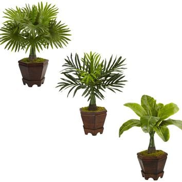 Artificial Plant -Assorted Mini Palm Trees with Planter-Set of 3