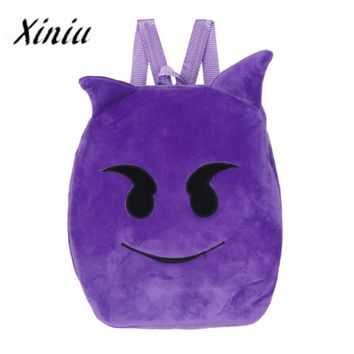 Cute Purple Emoji Animal Print Backpack
