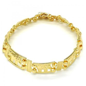 Gold Layered 03.26.0040.08 Fancy Bracelet, Elephant Design, Polished Finish, Golden Tone