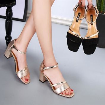 Summer Women Fashion All-match Multicolor Hollow Ankle Strap Open Toe Sandals Block Heels Shoes