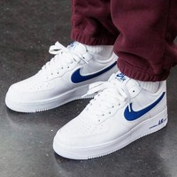 NIKE Air Force 1 Hot Sale Couple Casual Sport Shoes Sneakers White(Navy Blue Hook)