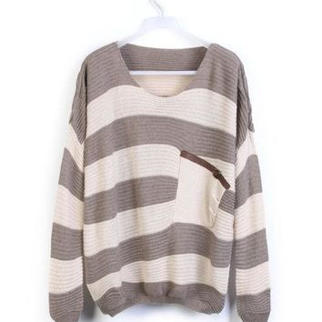 Light Coffee White Stripes Pocket Long Sleeve Pullover Sweater