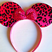Minnie Mouse Ears headband cheetah print animal print black and hot pink with pink sequin bow mickey