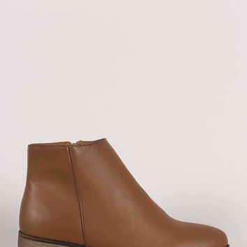 Bamboo Plain Almond Toe Flat Booties