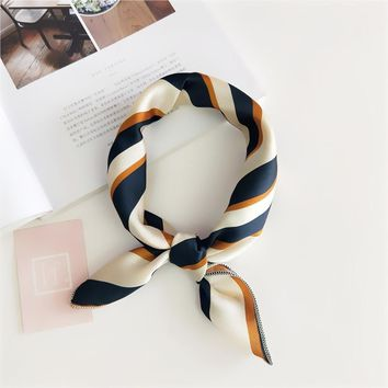 Popular Sale!!! New Elegant Women Square Silk Head Neck Feel Satin Scarf Skinny Retro  Hair Tie Band Small Fashion Square Scarf