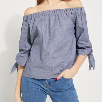 Striped Challis Off Shoulder Top
