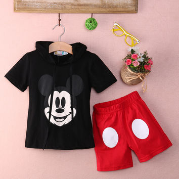 Mickey or Minnie Shirt with Hood and Shorts Outfit